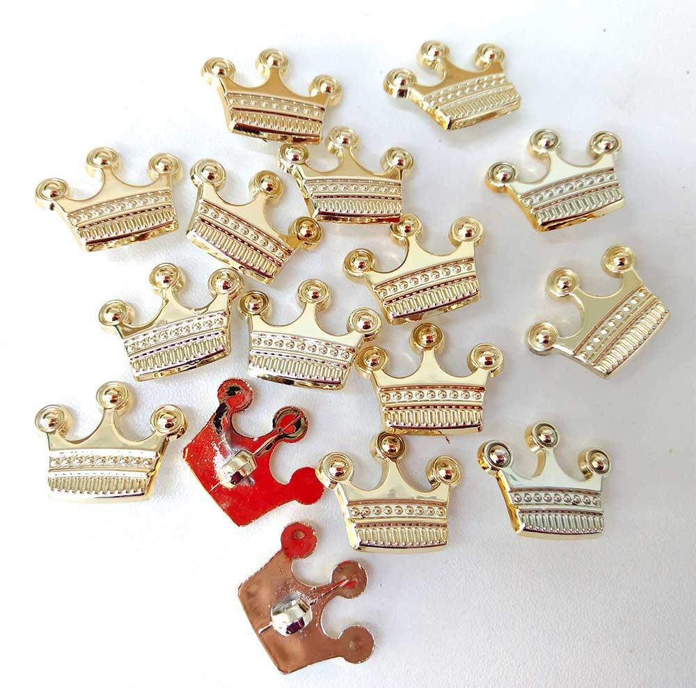 Coroa Dourada Aplique Botão 20 unidades