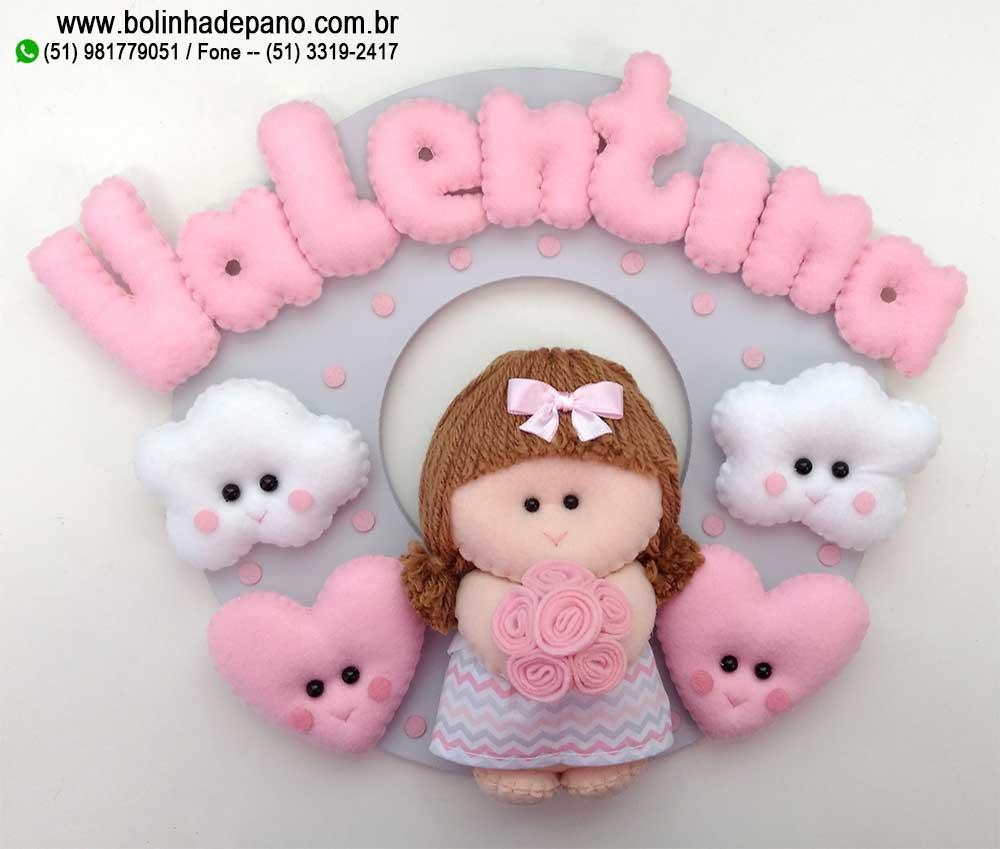 Enfeite Porta Maternidade Boneca Nuvem Coração