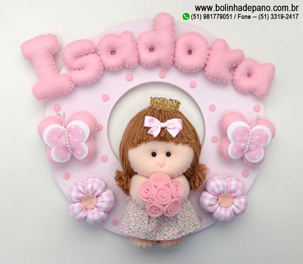 Enfeite Porta Maternidade Bonequinha Rosa