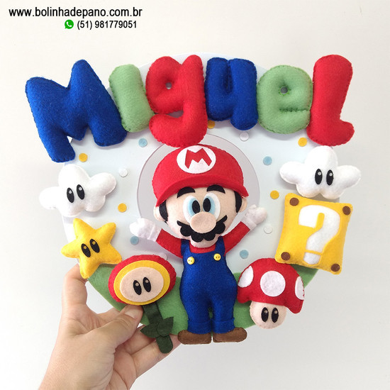 Enfeite porta maternidade Mario Bros
