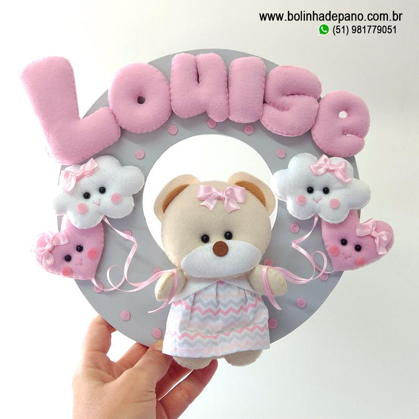 Enfeite Porta Maternidade Ursinha com Balões