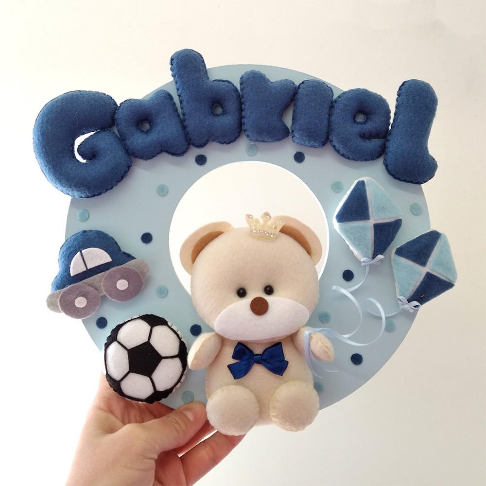 Enfeite Porta Maternidade Urso coroa Brinquedos