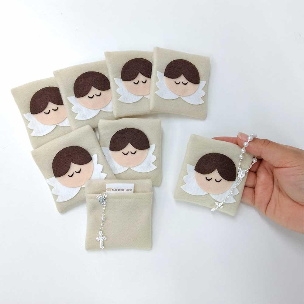 Envelope com Mini Terço Anjinho 10 unidades