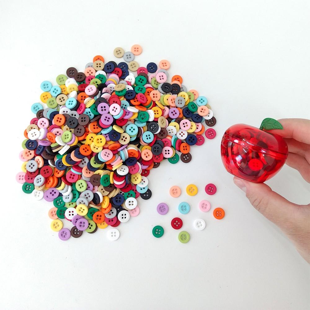 Kit Botões 100 unidades Pote Maçã do Amor