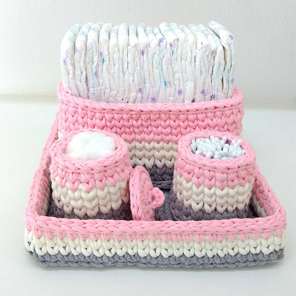 Kit Higiene Bebê Crochê 4 peças Rosa com Cinza