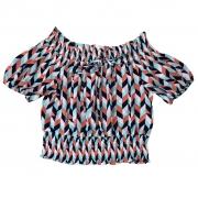Blusa crepe bubble geometrico ombro cintura lastex