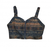 Blusa cropped com ziper frontal