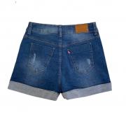 Shorts fem mom jeans c/ elastano do 12 ao 16