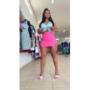 Shorts saia com cinto bengaline
