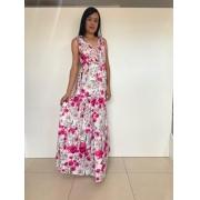 Vestido longo floral alca larga