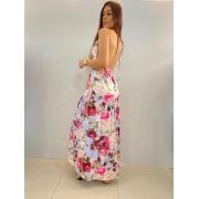 Vestido longo floral malha com bojo