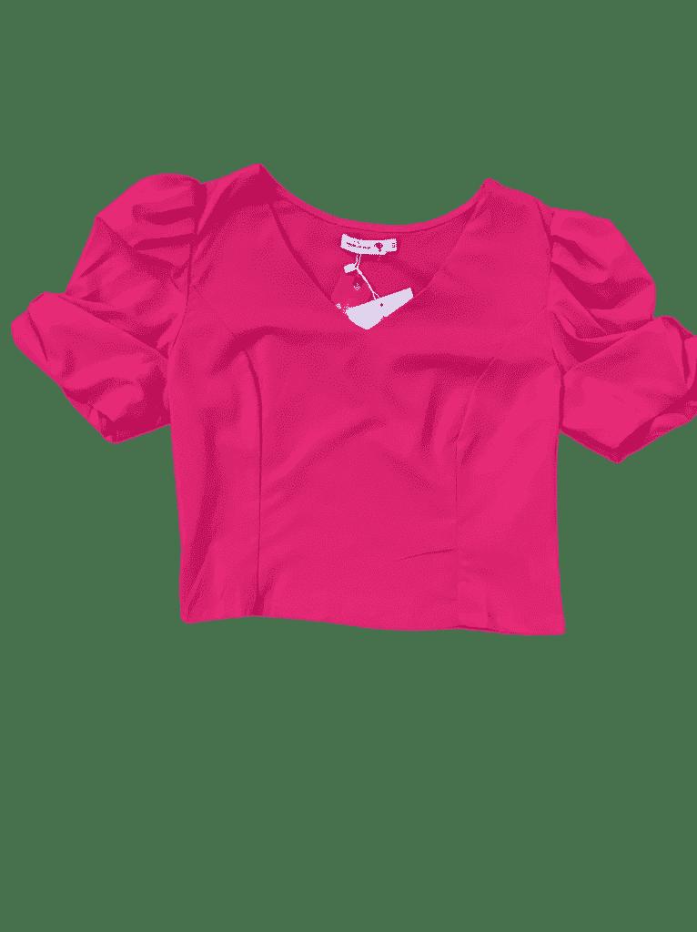 Blusa com zíper na lateral com manga bufante