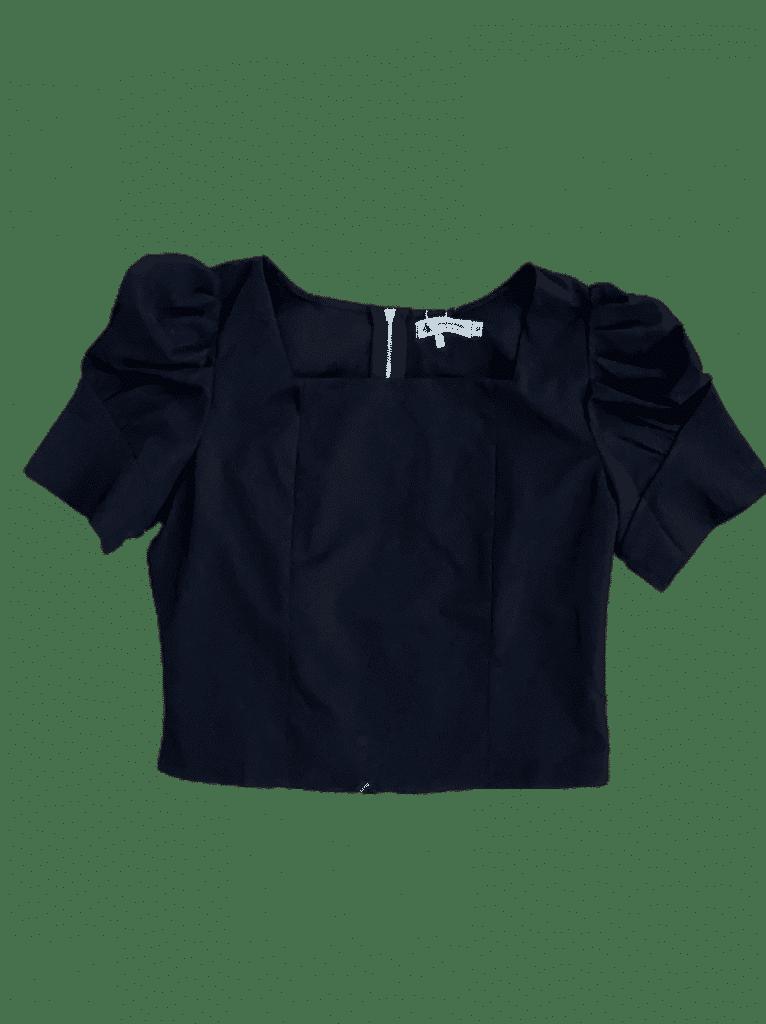 Blusa com ziper nas costas com manga bufante