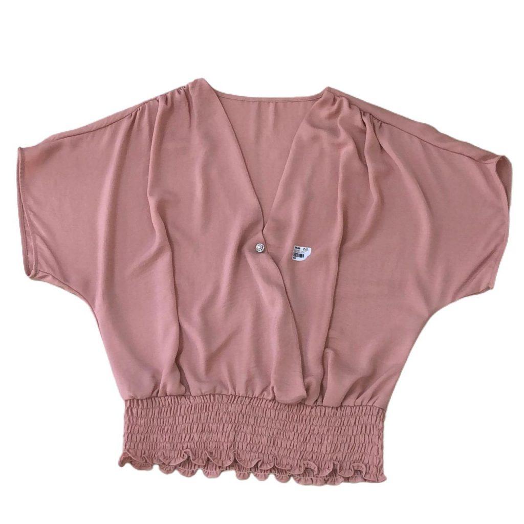 Blusa crepe twill frt transpasse lastex cintura