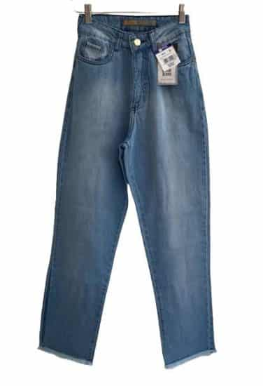 Calça feminina jeans conf vintage barra desfiada