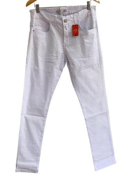 Calça masculina lycra ad super skinny sarja branco