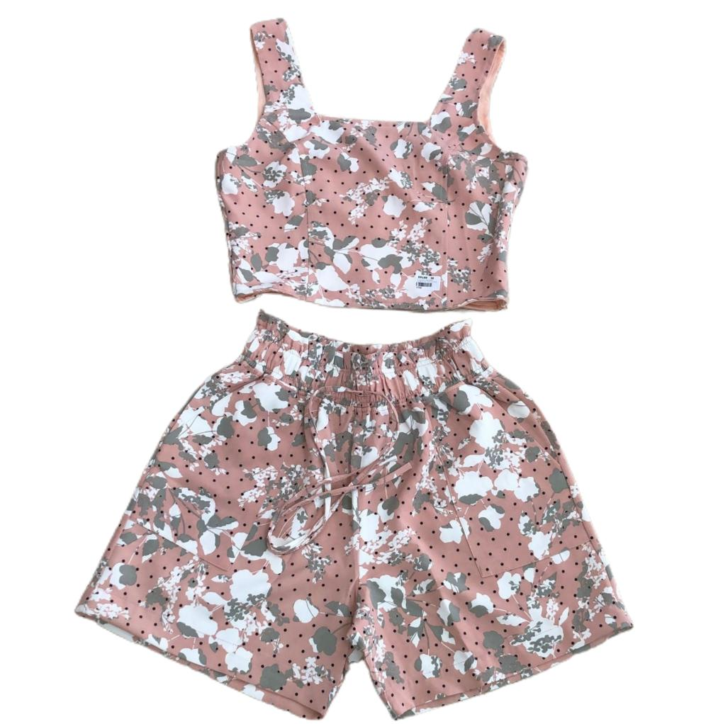 Conjunto cropped double poly alça ziper lateral