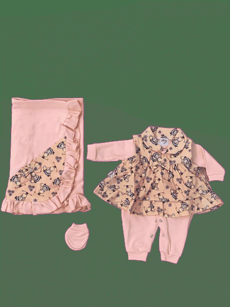 Saia da maternidade, vestido 4 peças sd caixa