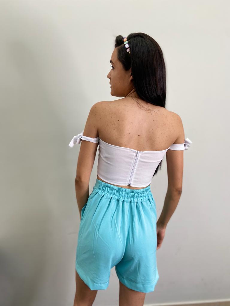 Shorts crepe monaliza bolso elastico costas