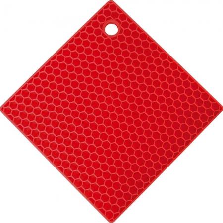 Apoio de Panela Quadrado de Silicone Vermelho