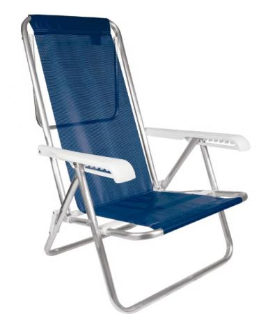 Cadeira Reclinável Alumínio 8 Posições Azul Marinho