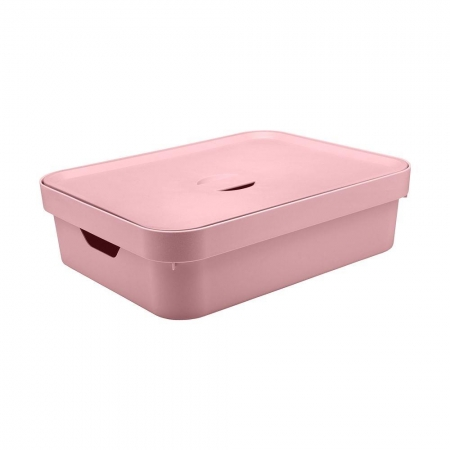Caixa Organizadora com tampa Grande Baixa Rosa