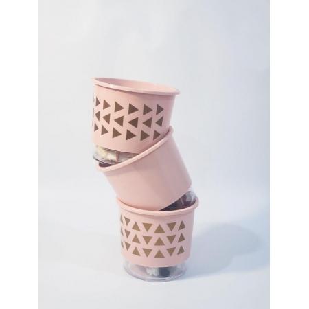 Conjunto 3 Vasos Irrigáveis Rosa Quartz