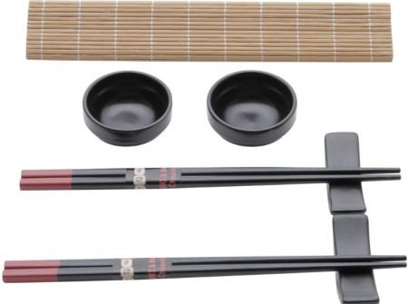 Conjunto 8 Peças para Sushi de Bambu e Cerâmica Yokohama