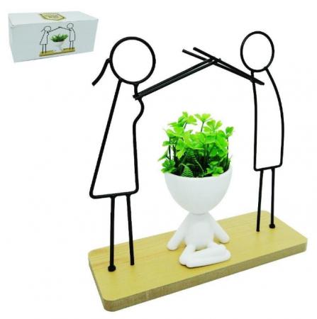 Enfeite Bob Vaso Plantas e Casal