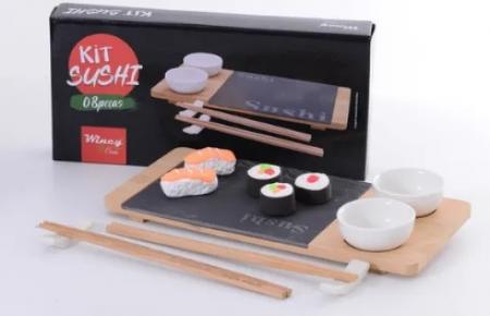 Kit Sushi Porcelana Prato Redondo 8 Peças 30,5X14,5cm