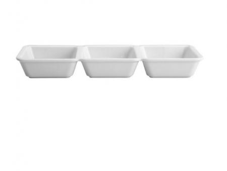 Petisqueira com 3 Divisórias de Porcelana New Bone Clarck 28X9X3,5cm