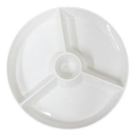 Petisqueira com 4 Divisórias De Porcelana New Bone Kansas 18X18X3cm