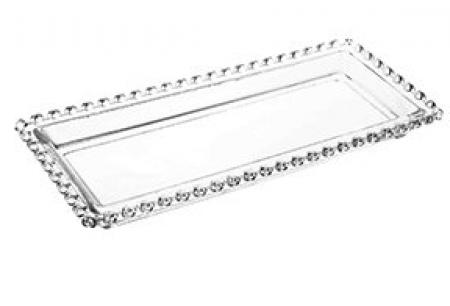 Travessa Retangular de Cristal de Chumbo Coração 30x13x3cm