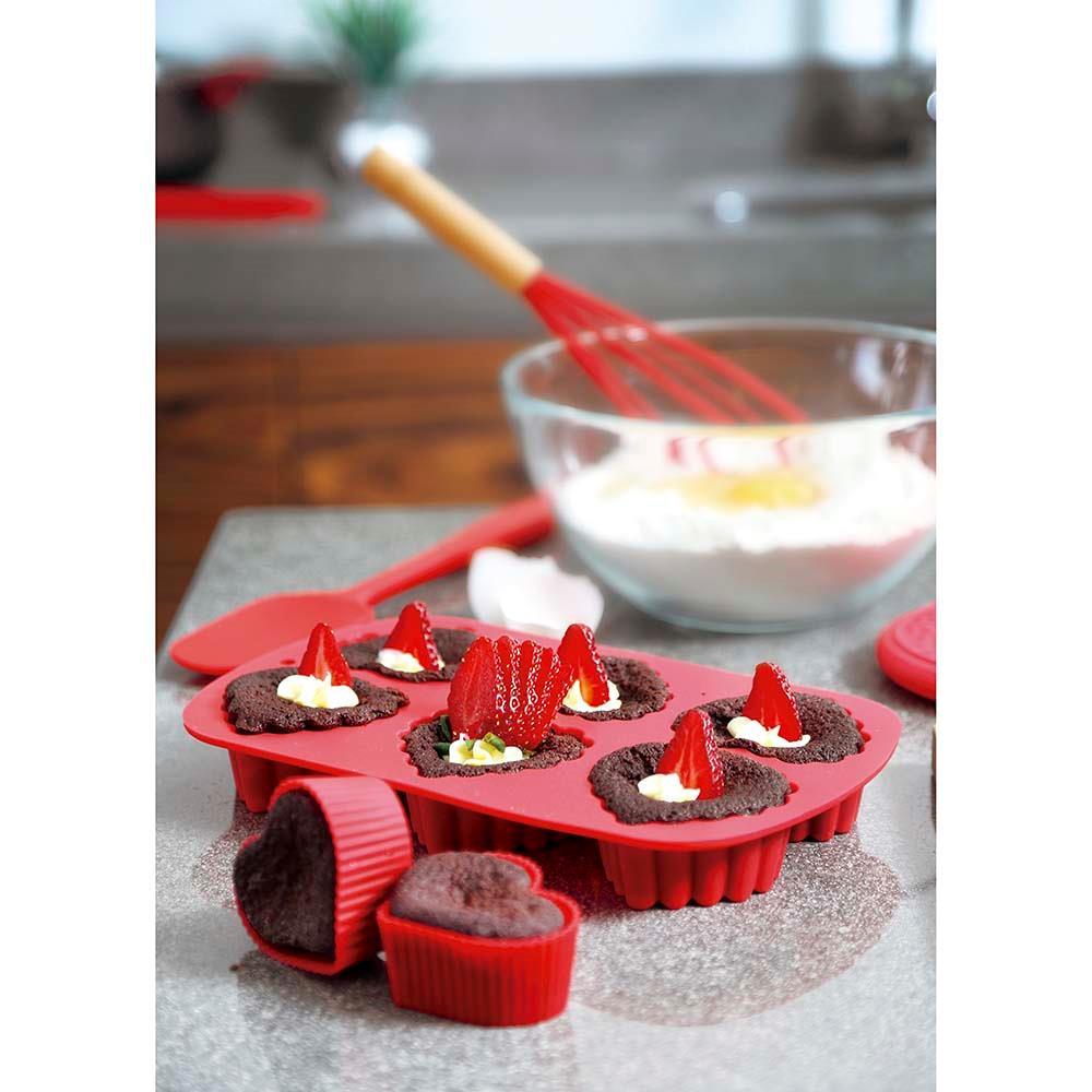 Assadeira de Silicone Coração Cupcake e Muffin