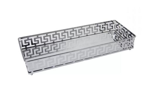 Bandeja Espelhada de Metal Prata 33CM X 20CM X 5CM