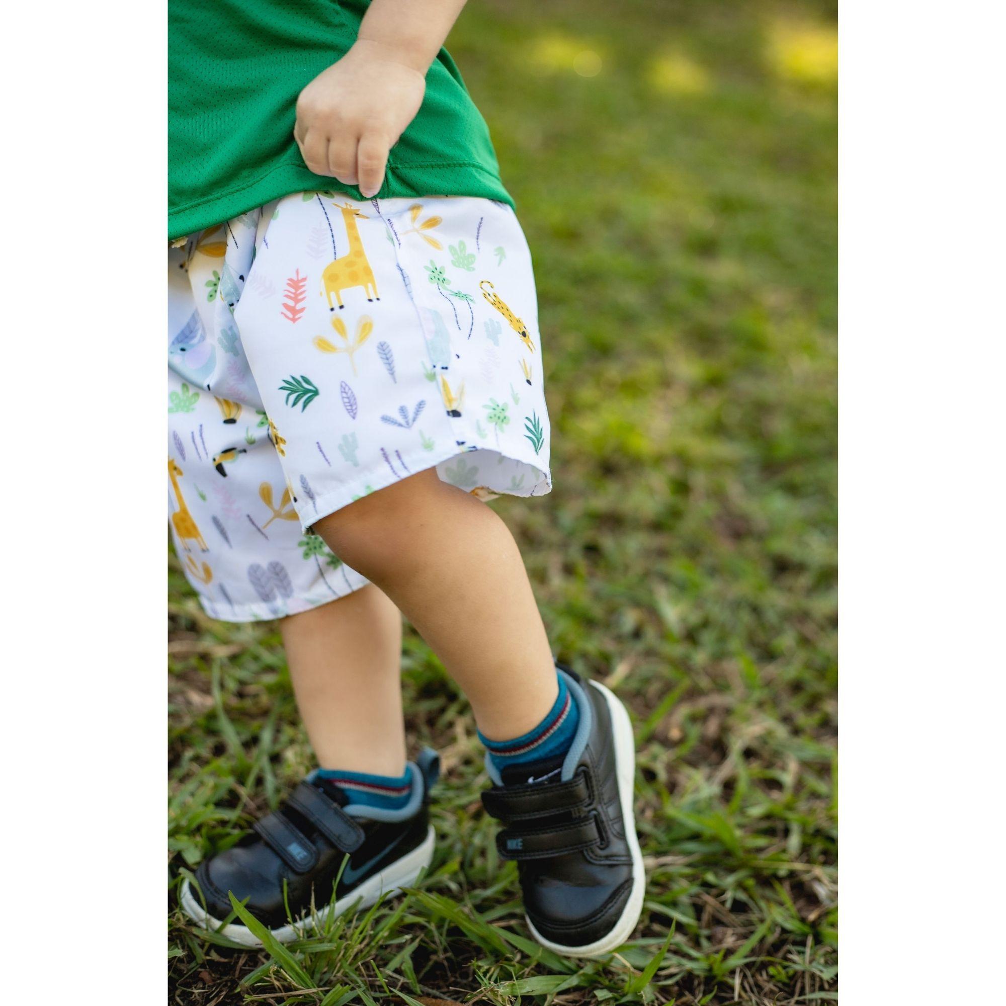Short Tactel Infantil - Estampa Safari