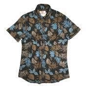 Camisa Manga Curta Preto Flor Azul