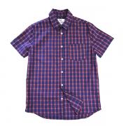 Camisa Manga Curta Xadrez Verm Azul