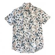 Camisa Manga Floral Bege