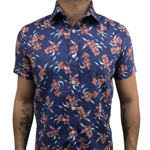 Camisa Manga Curta Marinho Floral  - Toolstoy