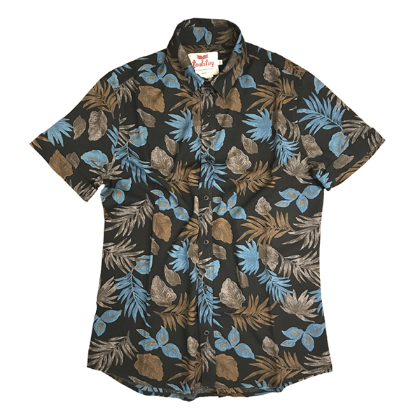 Camisa Manga Curta Preto Flor Azul  - Toolstoy