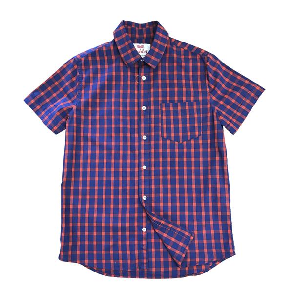 Camisa Manga Curta Xadrez Verm Azul  - Toolstoy