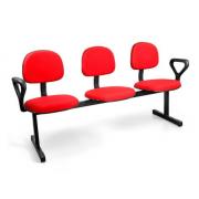 Cadeira Espera 3 Lugares vermelho