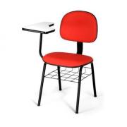 Cadeira Universitária Secretaria Laminada C/ Porta Livros Vermelho