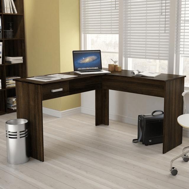 Mesa de Escritório Slim em L 1 Gaveta Mogno