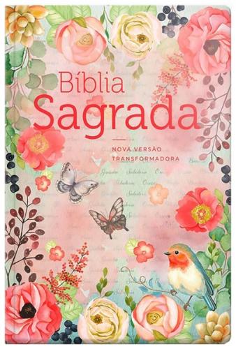 Bíblia Sagrada - Capa Personalizada Clássica Virtuosa - Ultra fina Slim - Tamanho Grande - Capa Dura Reforçada - Beira Florida - Versão NVT