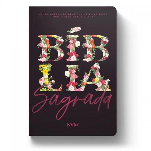 Bíblia Sagrada - Capa Personalizada Floral Primavera - Tamanho Grande - Ultra fina Slim - Linguagem Simples para Entendimento - Capa Dura - Versão NVI