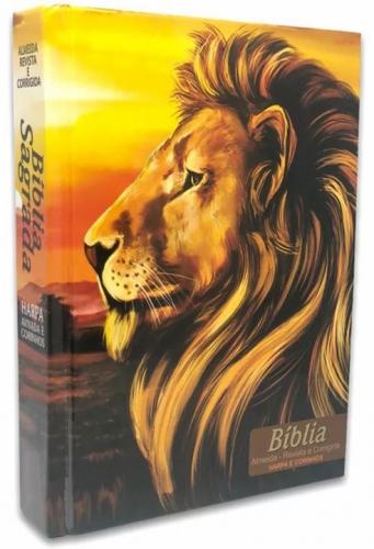 Bíblia Sagrada - Capa Personalizada Leão Paisagem - Possui Tamanho Grande - Harpa Cristã - Ultra fina Slim - Almeida Tradicional - Capa Dura - RC
