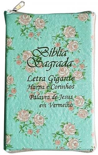 Bíblia Sagrada - LETRAS GIGANTES de fonte pequena - Harpa Cristã - Tamanho Grande -  Palavras em Destaque - Econômica - Almeida - Zíper - Verdinha