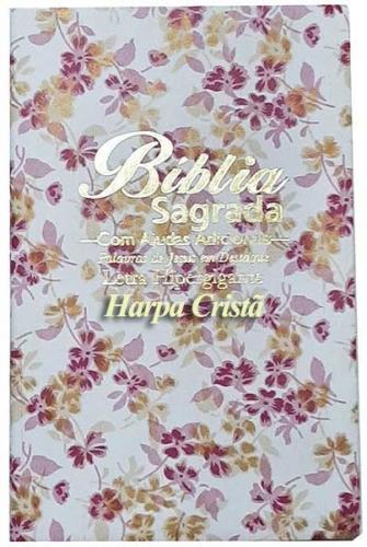 Bíblia Sagrada - LETRAS HIPERGIGANTES - Harpa Cristã - Palavras de Jesus são em Destaque - Almeida Tradicional - Tamanho Grande -  Capa Luxo - Floral